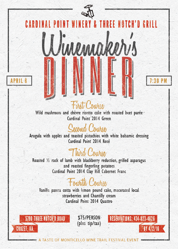 Winemakers Dinner at Three Notch'd Grill