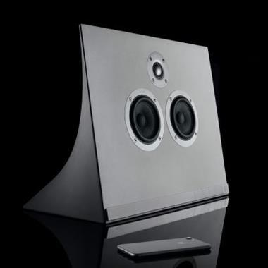 "David Adjaye creates concrete speaker with ""directional form"" for Master & Dynamic"