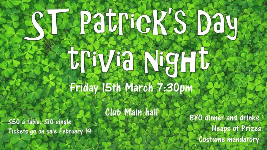 St Patricks Day trivia night